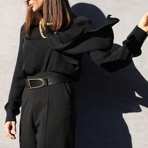 St John Knits Black silk blouse with ruffle 0
